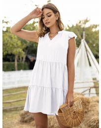 Свободна дамска рокля в бяло - код 696