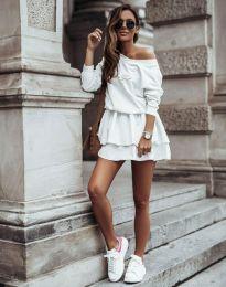 Кокетна дамска рокля в бяло - код 12051