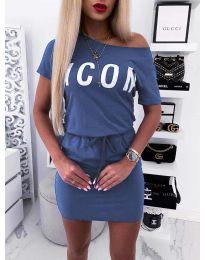 Свободна дамска рокля в  тъмно синьо - код 9905