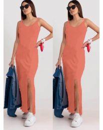 Дълга рокля с цепка в цвят корал - код 3000