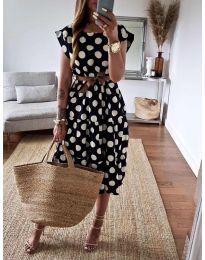 Феерична рокля в черно на точки - код 1415