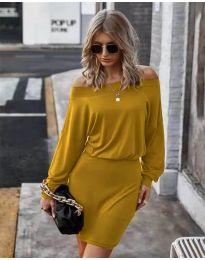 Дамска рокля в цвят горчица - код 4447