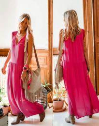 Свободна дълга рокля в цвят циклама - код 2568