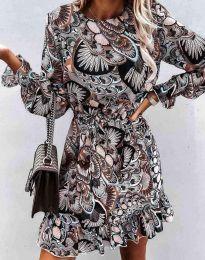 Дамска рокля с ефектен десен - код 6448 - 4