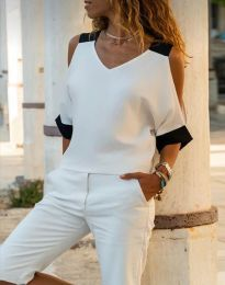 Блуза с ефектни ръкави в бяло - код 6169