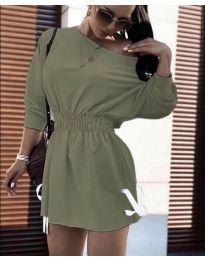 Изчистена рокля в маслено зелено - код 7470