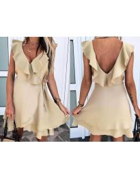Екстравагантна рокля в бежово - код 7799