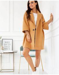 Свободно палто в цвят капучино - код 916