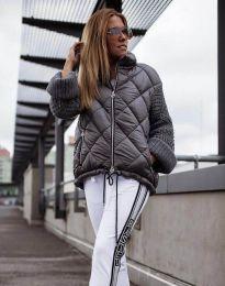 Атрактивно дамско яке в сиво - код 4820