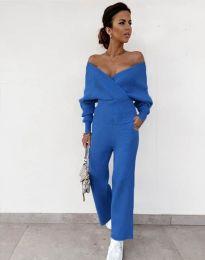 Елегантен дамски комплект в синьо - код 0931
