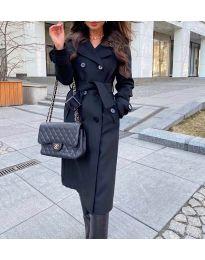 Дамско палто с колан в черно - код 213