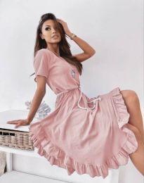 Атрактивна дамска рокля в светлорозово - код 11893