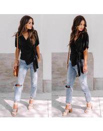 Изчистена дамска блуза в цвят черно - код 0009