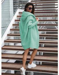 Дълга плетена жилетка в цвят мента - код 053