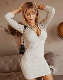 Стилна рокля по тялото в сиво - код 11643