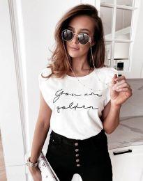 Дамска тениска с надпис в бяло - код 11905