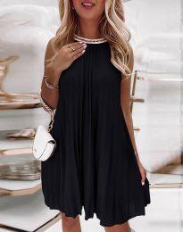 Дамска плисирана рокля в черно - код 0889