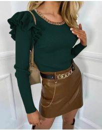 Атрактивна дамска блуза в маслено зелено - код 8865