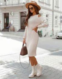 Модерна дамска рокля в бежово - код 8203