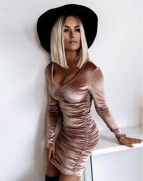 Къса елегантна рокля в цвят пудра - код 12080
