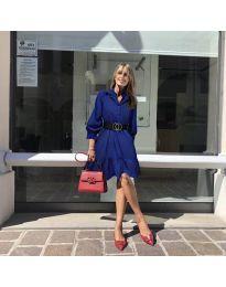 Атрактивна свободна рокля в тъмно синьо - код 960