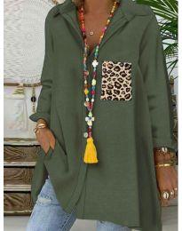 Екстравагантна блуза в маслено зелено - код 5641