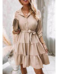 Дамска рокля в бежово - код 6970