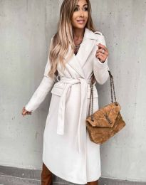 Дълго дамско палто в бежово - код 0876