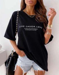 Атрактивна дамска тениска в черно - код 5056