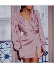 Елегантна рокля тип прегърни ме в розово - код 492