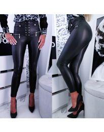 Черен  панталон с ципове и връзки - код 8021