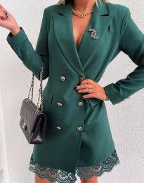 Дамска рокля тип сако в зелено - код 6955