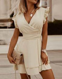 Ефирна дамска рокля в цвят шампанско - код 5654