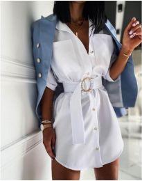 Елегантна рокля тип риза в бяло - код 976