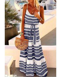 Дълга рокля с атрактивен десен в тъмно син цвят - код 621