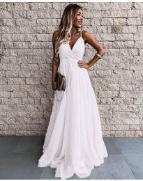 Дълга дамска рокля в бяло  - код 5244