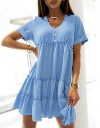 Свободна къса рокля в светлосиньо - код 7205