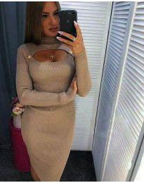 Дамска рокля в бежово с ефектно деколте - код 2144