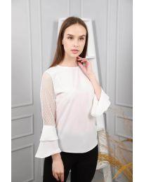 Ефирна дамска блуза в бяло - код 0643