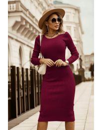 Дамска рокля в бордо - код 8485
