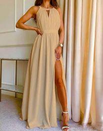 Дълга ефирна рокля в бежово - код 6787