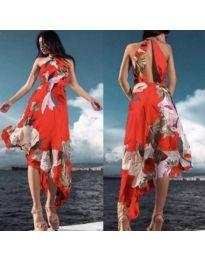 Червена асиметрична дамска рокля с интересен гръб - код 284