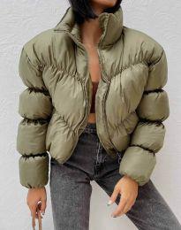 Късо дамско яке в масленозелено - код 0017