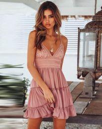 Кокетна къса рокля в цвят пудра - код 7115