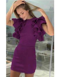 Дамска рокля в лилаво с набрани ръкави - код 939