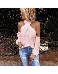 Стилна блуза с ефектни ръкави в розово - код 6568
