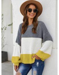 Свободна плетена блуза в жълто - код 970