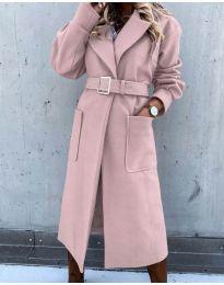 Дълго дамско палто с колан в розово - код 423