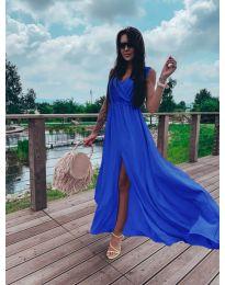 Дълга рокля с цепка в тъмно синьо - код 1174
