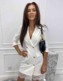 Дамска рокля тип сако в бяло - код 6955
